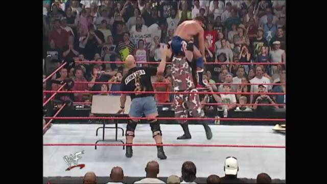 Booker T & The Dudley Boyz vs Christian, Edge & Kurt Angle (Tag Team Table Elimination Match)