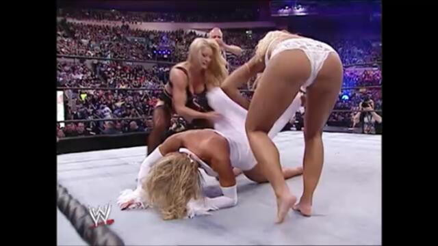 Torrie Wilson and Sable vs Miss Jackie and Stacy Keibler (Playboy Evening Gown match WrestleMania XX)