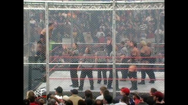 Kurt Angle,Rikishi,Undertaker,Triple H,Austin,The Rock (Hell in a Cell match for the WWF Championship) 1/2