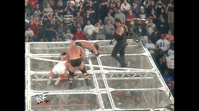 Kurt Angle,Rikishi,Undertaker,Triple H,Austin,The Rock (Hell in a Cell match for the WWF Championship) 2/2