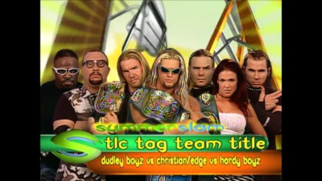 Edge and Christian vs The Dudley Boyz vs Hardy Boyz (TLC for the WWF Tag Team Championship) #1