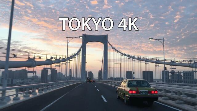 Tokyo 4K - Skyline Expressway Sunrise - Rainbow Bridge - Driving Downtown