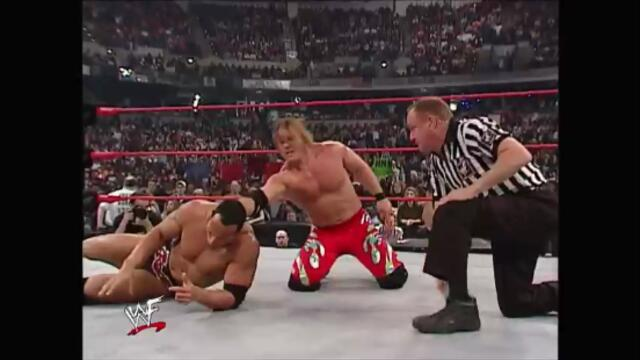 WWF The Rock and Triple H vs Kurt Angle and Chris Jericho Main Event (Raw 21.01.2002)