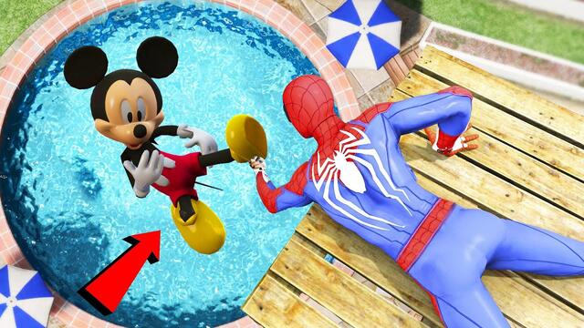 Мики Маус  Spiderman vs Mickey Mouse Jumps/Fails #103 (Euphoria physics Funny Moments)