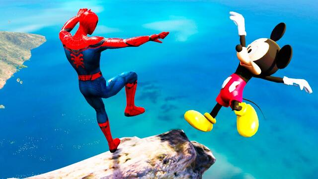 GTA 5 Water Ragdolls Spiderman vs Mickey Mouse Jumps/Fails #116 (Euphoria physics Funny Moments)