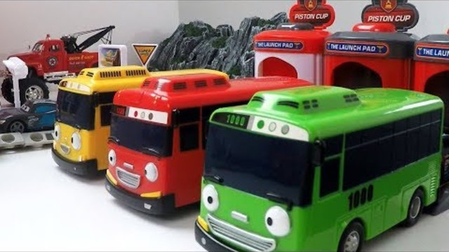Tayo the Little Bus - Disney Pixar Cars with Shooting Bus Garage toys for Kids Toy Shooting Car