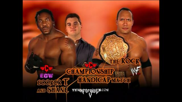 The Rock vs Booker T and Shane McMahon (Handicap match for the WCW Championship)