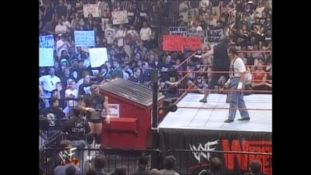 Cactus Jack and Chainsaw Charlie vs The New Age Outlaws (Dumpster match)
